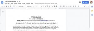 Screenshot of a press release
