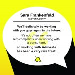 Quote from Sara Frankenfeld about working with Advokate